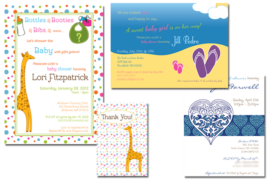 Baby and bridal shower invitation designs